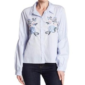 Sanctuary Embroidered Balloon Sleeve Blue Shirt